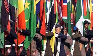 Flags of all African nations are carried by South African soldiers